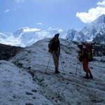 Anstieg über den Gletscher Akkem zum Tomskije Nochevki