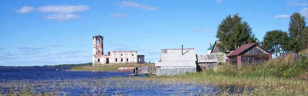 Dorf auf einer Insel im Onega-See