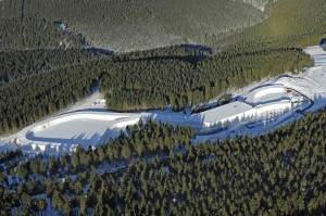 Die Skihalle aus der Vogelperspektive