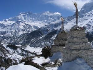 Bergpanorama von Braga mit Blick auf Annapurna II (li.) und IV (re.)