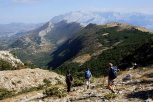Blick vom Kula auf die Höhenzüge des Biokovo-Gebirges