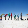Unsere Reisegruppe im November 2014 – im Salar de Uyuni, dem größten Salzsee der Erde