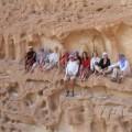 Ein Felsen ist wie für ein Gruppenfoto geschaffen