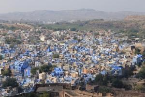 Blick von der Festung Mehrangarh auf die blaue Altstadt Jodhpurs