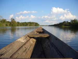 Kanufahrt auf einem der Seitenarme im Amazonasgebiet
