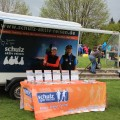 Unser schulz sportreisen-Stand zum Rennsteiglauf auf dem Sportplatz in Schmiedefeld