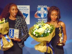 Bei der sehr erlebenswerten AIMS-Gala gibt sich die Weltelite ein Stelldichein, hier Gladys Cherono (Kenia) und Mare Dibaba (Äthiopien)
