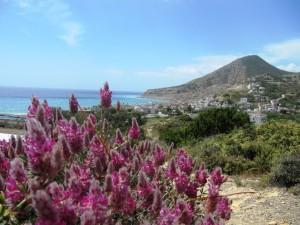 Blick auf Mirtos, ein beschauliches Aussteigerdorf und Ihr Zuhause während dieser Reise
