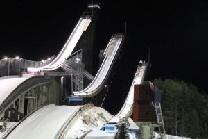 Weltberühmt: Die Schanzenanlage der Lahti Skiarena. Austragungsort der Nordischen Ski-WM 2017