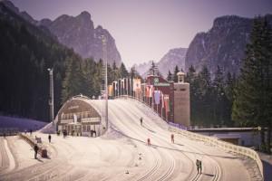 Aus dem Weltcup-Zirkus bekannt: die Nordic Arena in Toblach