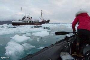 Die MS Cape Race - das richtige Schiff für eine Expedition durch das Nordpolarmeer (Foto © Jill Heinerth)
