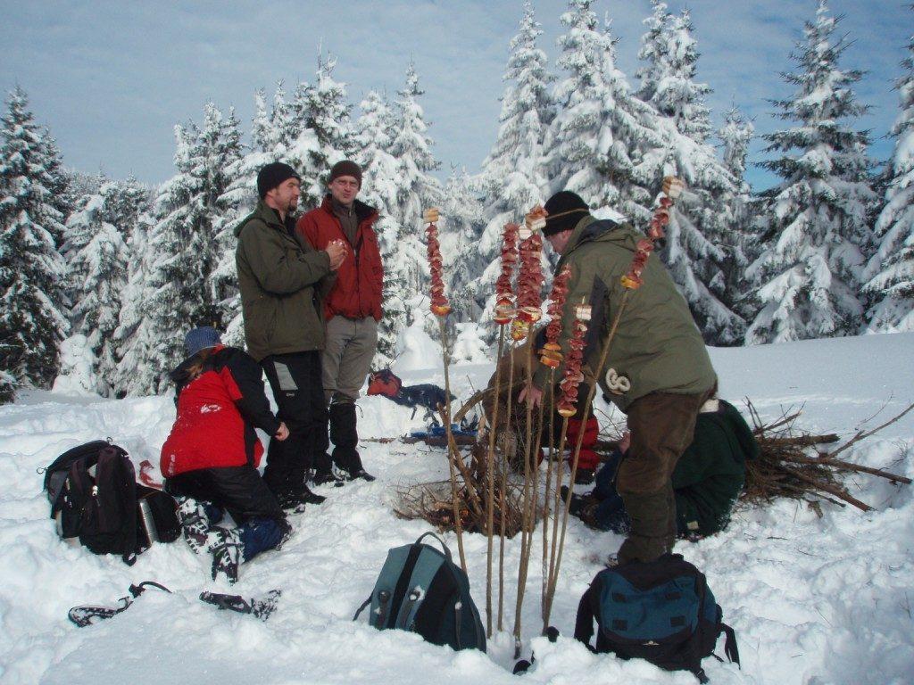 Picknick im Winterwald