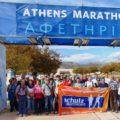 Vorfreude auf auf den Marathon bei Besichtigung des Start-Areals am Vortag