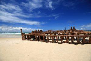 Schiffswrack auf Fraser Island, der größten Sandinsel der Welt