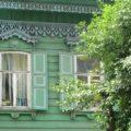 Alte sibirische Holzhäuser in Irkutsk