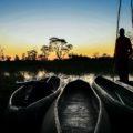 Das Okvango-Delta erkundet man am Besten in diesen Mokoros.
